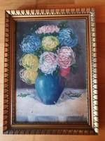 Udvarhelyi olaj festmény, vászon, üvegezett keretben 29x39 cm