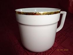 Alföldi porcelán arany szegélyes bögre, átmérője 8,5 cm. használt aranyozás kicsit kopott