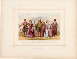 Grúzok, cserkeszek, örmények, litográfia 1882, eredeti, kaukázusi faj, népfaj, Kaukázus, Szentföld