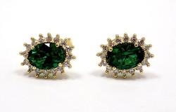 Zöld köves arany fülbevaló (ZAL-Au91968)