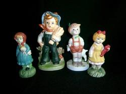 4 db aranyos biszkvit porcelán / kerámia figura: 2 kislány és 2 kisfiú