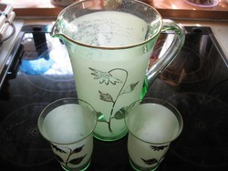 Art deco kancsó, poharak