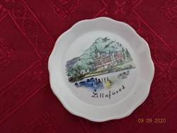 Aquincum porcelán tálka.  Lillafüredi emlék, átmérője 8 cm.