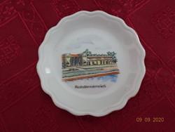 Aquincumi porcelán emlék tálka. Balatonalmádi emlék, átmérője 9,5 cm.