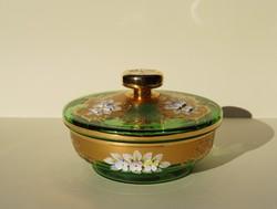 Nagyméretű Bohemia Cseh zöld arany virágos barokk stílusú üveg fedeles bonbonier asztalközép kínáló