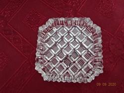 Csiszolt üveg hamutál, mérete 7,5 x 7,5 x 1,5 cm.