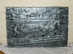 Jelzett német kerámia falikép.