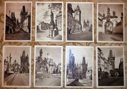 8 régi Prága képeslap képes levelezőlap postatiszta