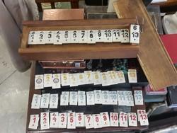 Régi számpóker, játék, 12 x 6 x 32 cm-es, gyűjtőknek.