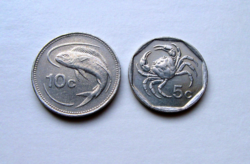 MÁLTA  –2 db-os érme Lot - 5 & 10 cent- 1992 &1998 Forgalmi érme