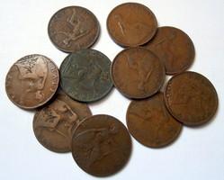 Angol half penny régi pénz érme pénzérme 10 db