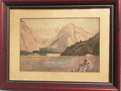Antik 1800as évek vízfestmény, aqvarell paszpartú alatt üveg védi!osztrák,, Német, Erdély, Tátra!