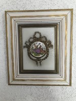 Álomszép Angol jelzett porcelánkép sárgaréz alapon fa keretben.