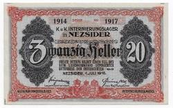 20 Fillér Nezsider ( NEZ- 2c ) aUNC - UNC 1914 Sorozat 1917 Sorszámmal