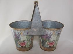Vintage fém virágtartó 2-es kaspó