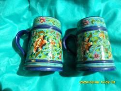 Antik Fischer porcelánfajansz  korsó pár