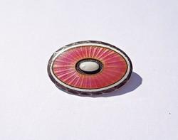 Tiny fire enamel brooch