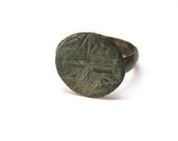 Római vagy Kelta bronz pecsétgyűrű.