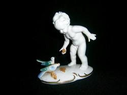 Nagyon ritka Grafenthal porcelán galambokat etető puttó kisfiú
