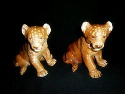 Gyönyörű, hibátlan nagy oroszlán kölyök régi német porcelán darabra