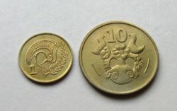 CIPRUS – 2 db-os érme Lot - 1 & 10 cent -1983 - Forgalmi érme
