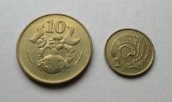 CIPRUS – 2 db-os érme Lot - 1 & 10 cent -1983 - Forgalmi érme (2)