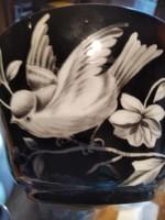 Madaras fekete alapon egyedi teás csésze tányérral