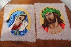 KÉT KIVARRT GOBELIN KRISZTUS ÉS MÁRIA