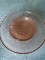 Régi szép rózsaszín vastag üveg süteményes készlet, 1 db nagy kínáló + 4 db kistányer hibátlan.