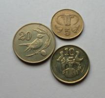 CIPRUS – 3 db-os érme Lot - 5 & 10 & 20 cent - vegyes évszám - Forgalmi érme