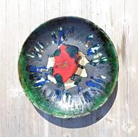 Városlődi színes nagyobb kerámia falitányér