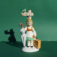 RITKA figura GDR Lippelsdorf német porcelán kislány útelágazásnál kis vándor gyerek figura