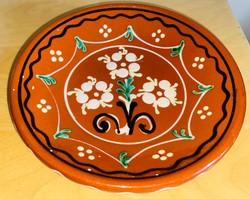 Mázas festett fali tányér 17 cm