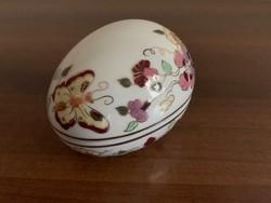 Zsolnay pillangó mintás tojás alakú bonbonier