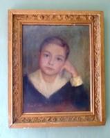 Vida Z. Gyermek portré olajfestmény antik keretben