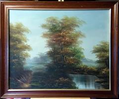 Álomszerűen gyönyörű, mesterien megfestett, jelzett olajfestmény, Tájkép