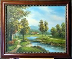 Gyönyörű, csodálatos, jelzett olajfestmény, Tájkép ( 50 x 61 )