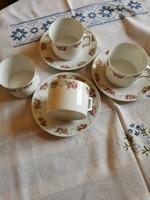 Antik vékony porcelán rózsás teás csésze alátéttel 3 + 4 db