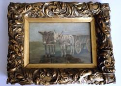Németh György /1888-1962/ Szamárfogat -miniatűr olajfestmény antik keretben