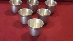 Ritka 6 db ezüstözött pálinkás pohár, kupica szett