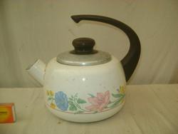 Retro zománcos, virágos teás kanna