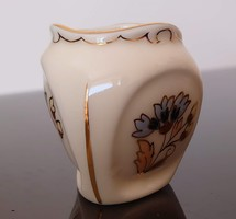 Zsolnay porcelán búzavirág fogpiszkáló tartó vagy mini váza háromszögletű 5 cm