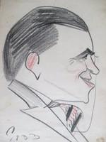 Vintage portré-karikatúra 1933-ból: férfi cvikkerrel. Színezett ceruzarajz