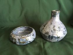 Képcsarnokos sorszámozott türkiz kék kerámia váza és tál HK szignóval
