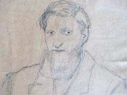 Vadász Miklós (1884-1927) rajza: fiatal szakállas férfi (zsidó egyházi személy?) portréja