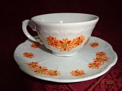 Zsolnay porcelán kávés csésze +  alátét, narancssárga mintával.