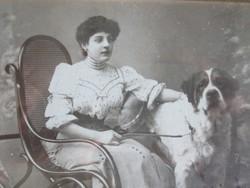 Fiatal nő portréja kutyákkal: műtermi fotó, levelezőlap formátum (1909)