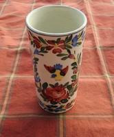 Antik madár és virágmintás majolika váza