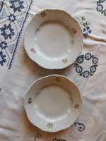 2 db Zsolnay porcelán süteményes tányér együtt
