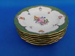 Herendi Vieux bouquet de Saxe 6sz Sütis tányér garnitúra